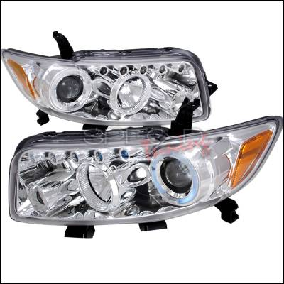 Headlights & Tail Lights - Headlights - Spec-D - Scion xB Spec-D R8 Style Halo LED Projector - Chrome - 2LHP-XB08-TM