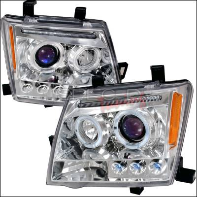 Headlights & Tail Lights - Headlights - Spec-D - Nissan Xterra Spec-D Halo LED Projector Headlights - Chrome - 2LHP-XTE05-TM