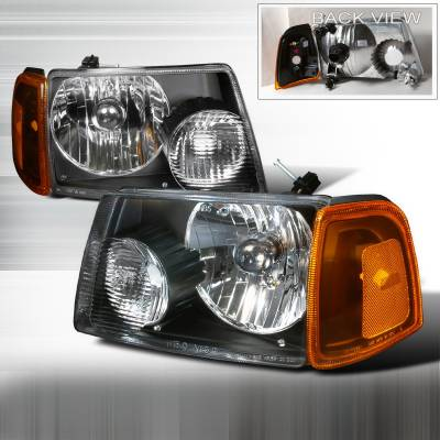 Headlights & Tail Lights - Headlights - Spec-D - Ford Ranger Spec-D Crystal Housing Headlights - Black - 2LH-RAN01JM-KS