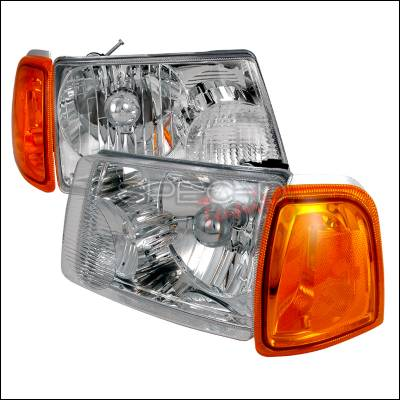 Headlights & Tail Lights - Headlights - Spec-D - Ford Ranger Spec-D Crystal Housing Headlights - Chrome - 2LH-RAN01-KS