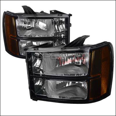 Headlights & Tail Lights - Headlights - Spec-D - GMC Sierra Spec-D Black Headlight - 2LH-SIE07JM-DP