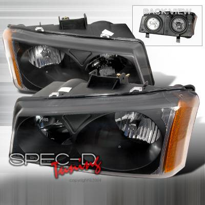Headlights & Tail Lights - Headlights - Spec-D - Chevrolet Avalanche Spec-D Crystal Housing Headlights - Black - 2LH-SIV03JM-KS