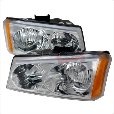 Headlights & Tail Lights - Headlights - Spec-D - Chevrolet Avalanche Spec-D Crystal Housing Headlights - Chrome - 2LH-SIV03-KS