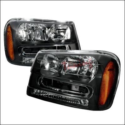 Headlights & Tail Lights - Headlights - Spec-D - Chevrolet Trail Blazer Spec-D Crystal Housing Headlights - Black - 2LH-TBLZ02JM-KS