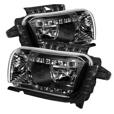 Headlights & Tail Lights - Headlights - Spyder - Chevrolet Camaro Spyder DRL LED Crystal Headlights - Black - 333-CCAM2010-DRL-BK