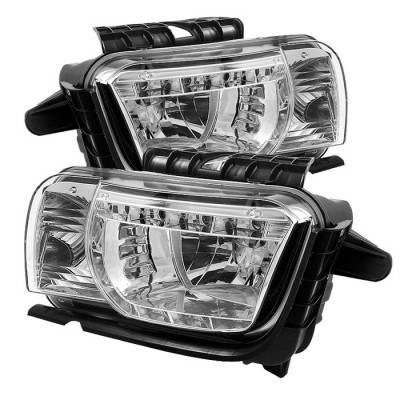 Headlights & Tail Lights - Headlights - Spyder - Chevrolet Camaro Spyder DRL LED Crystal Headlights - Chrome - 333-CCAM2010-DRL-C