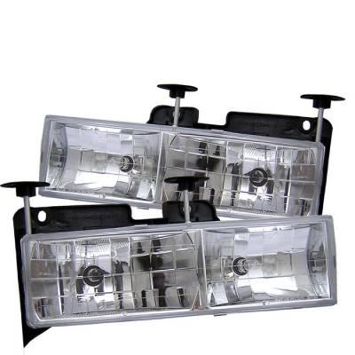 Headlights & Tail Lights - Headlights - Spyder - Chevrolet CK Truck Spyder Crystal Glass Headlights - ChroME - 333-CCK88-C