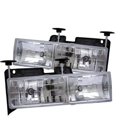 Headlights & Tail Lights - Headlights - Spyder - Chevrolet Suburban Spyder Crystal Glass Headlights - ChroME - 333-CCK88-C