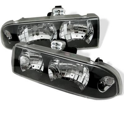 Headlights & Tail Lights - Headlights - Spyder - Chevrolet S10 Spyder Crystal Headlights - Black - 333-CS1098-BK