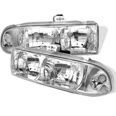 Headlights & Tail Lights - Headlights - Spyder - Chevrolet S10 Spyder Crystal Headlights - Chrome - 333-CS1098-C
