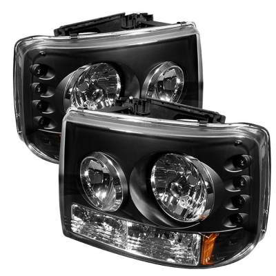 Headlights & Tail Lights - Headlights - Spyder - Chevrolet Suburban Spyder LED Crystal Headlights - Black - 333-CS99-1PC-AM-BK