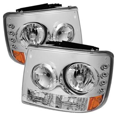 Headlights & Tail Lights - Headlights - Spyder - Chevrolet Suburban Spyder LED Crystal Headlights - Chrome - 333-CS99-1PC-AM-C