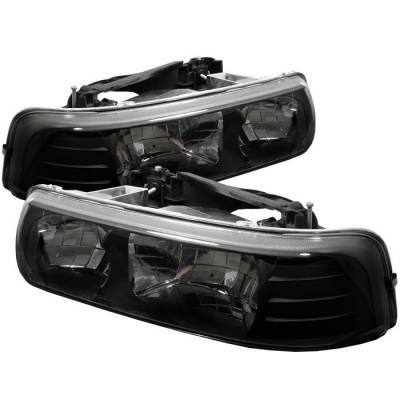 Headlights & Tail Lights - Headlights - Spyder - Chevrolet Suburban Spyder Crystal Headlights - Black - 333-CSIL99-BK