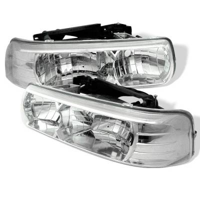Headlights & Tail Lights - Headlights - Spyder - Chevrolet Suburban Spyder Crystal Headlights - Chrome - 333-CSIL99-C