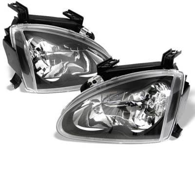 Headlights & Tail Lights - Headlights - Spyder - Honda Del Sol Spyder Crystal Headlights - Black - 333-HD93-BK