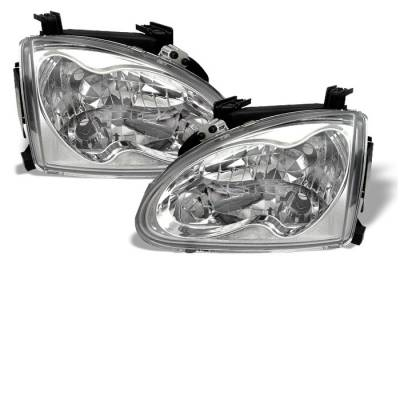 Headlights & Tail Lights - Headlights - Spyder - Honda Del Sol Spyder Crystal Headlights - Chrome - 333-HD93-C