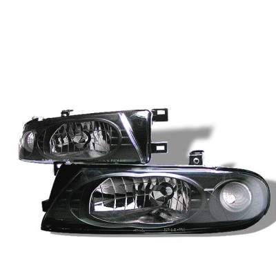 Headlights & Tail Lights - Headlights - Spyder - Nissan Altima Spyder Crystal Headlights - Black - 333-NA93-BK