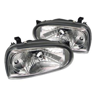 Headlights & Tail Lights - Headlights - Spyder - Volkswagen Golf Spyder Crystal Headlights - Chrome - 333-VG93-C