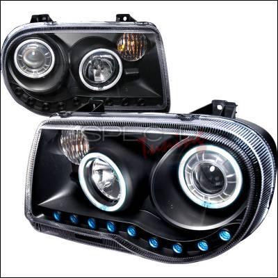 Headlights & Tail Lights - Headlights - Spec-D - Chrysler 300 Spec-D CCFL Halo Projector Headlights - Black - 3LHP-300C05JM-KS