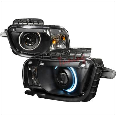 Headlights & Tail Lights - Headlights - Spec-D - Chevrolet Camaro Spec-D CCFL Halo Projector Headlights - Black - 3LHP-CMR10JM-KS