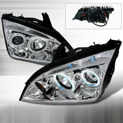 Headlights & Tail Lights - Headlights - Spec-D - Ford Focus Spec-D CCFL Halo Projector Headlights - Chrome - 3LHP-FOC05-KS
