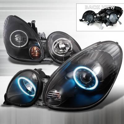 Headlights & Tail Lights - Headlights - Spec-D - Lexus GS Spec-D CCFL Halo Projector Headlights - Black - 3LHP-GS30098JM-KS