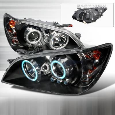 Headlights & Tail Lights - Headlights - Spec-D - Lexus IS Spec-D CCFL Halo Projector Headlights - Black - 3LHP-IS30001JM-KS