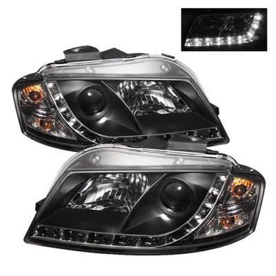 Headlights & Tail Lights - Headlights - Spyder - Audi A3 Spyder Projector Headlights DRL - Black - 444-AA306-DRL-BK
