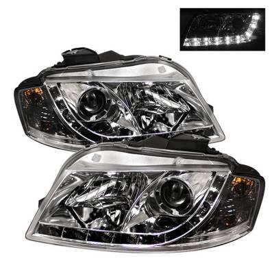 Headlights & Tail Lights - Headlights - Spyder - Audi A3 Spyder Projector Headlights DRL - Chrome - 444-AA306-DRL-C