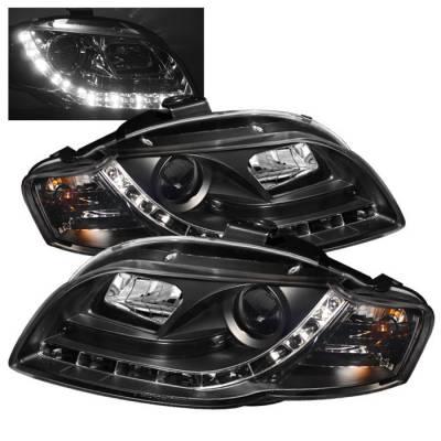 Headlights & Tail Lights - Headlights - Spyder - Audi A4 Spyder Projector Headlights DRL - Black - 444-AA405-DRL-BK