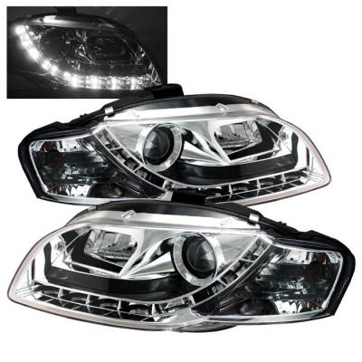 Headlights & Tail Lights - Headlights - Spyder - Audi A4 Spyder Projector Headlights DRL - Chrome - 444-AA405-DRL-C