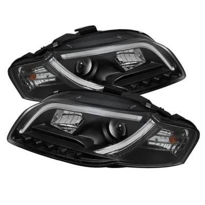 Headlights & Tail Lights - Headlights - Spyder - Audi A4 Spyder Light Tube DRL LED Projector Headlights - Black - 444-AA405-LTDRL-G2-BK