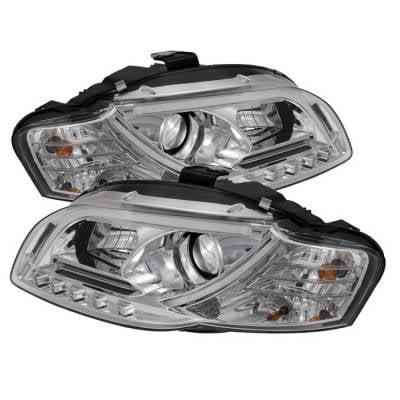 Headlights & Tail Lights - Headlights - Spyder - Audi A4 Spyder Light Tube DRL LED Projector Headlights - Chrome - 444-AA405-LTDRL-G2-C