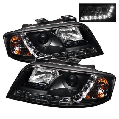 Headlights & Tail Lights - Headlights - Spyder - Audi A6 Spyder Projector Headlights DRL - Black - 444-ADA601-DRL-BK