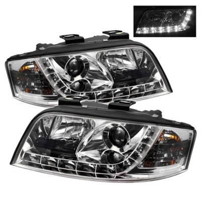 Headlights & Tail Lights - Headlights - Spyder - Audi A6 Spyder Projector Headlights DRL - Chrome - 444-ADA601-DRL-C