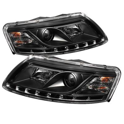 Headlights & Tail Lights - Headlights - Spyder - Audi A6 Spyder Projector Headlights DRL - Black - 444-ADA605-DRL-BK