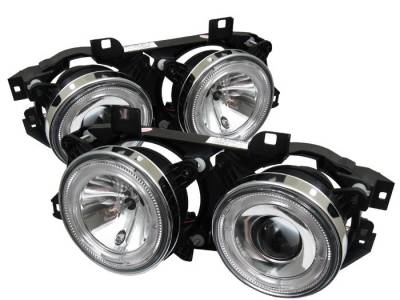 Headlights & Tail Lights - Headlights - Spyder - BMW 7 Series Spyder Projector Headlights - LED Halo - Chrome - 444-BMWE34-HL-C