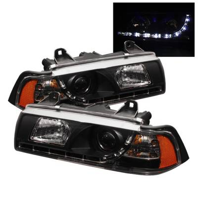 Headlights & Tail Lights - Headlights - Spyder - BMW 3 Series 2DR Spyder Projector Headlights - NOT FIT TI MODEL - DRL - Black - 444-BMWE36-2D-DRL-BK