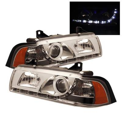 Headlights & Tail Lights - Headlights - Spyder - BMW 3 Series 2DR Spyder Projector Headlights - NOT FIT TI MODEL - DRL - Chrome - 444-BMWE36-2D-DRL-C