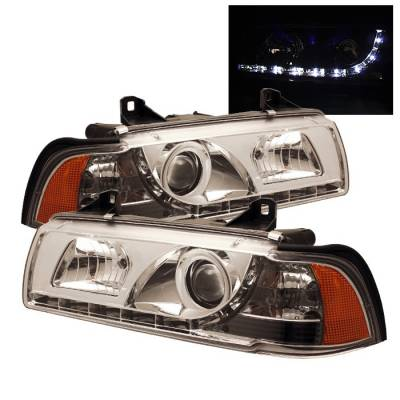 Spyder. - BMW 3 Series 4DR Spyder Projector Headlights - DRL - Chrome - 444-BMWE36-4D-DRL-C