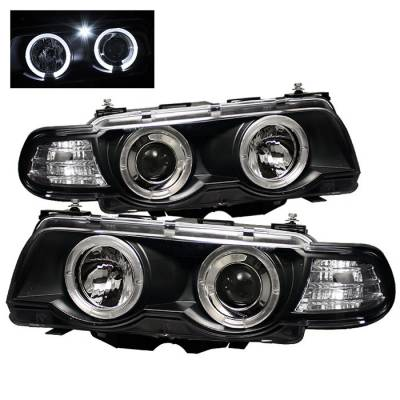 Headlights & Tail Lights - Headlights - Spyder - BMW 7 Series Spyder Projector Headlights - Xenon HID Model Only - LED Halo - Black - 1PC - 444-BMWE3899-HID-HL-BK