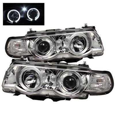 Headlights & Tail Lights - Headlights - Spyder - BMW 7 Series Spyder Projector Headlights - Xenon HID Model Only - LED Halo - Chrome - 1PC - 444-BMWE3899-HID-HL-C
