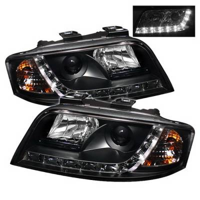 Headlights & Tail Lights - Headlights - Spyder Auto - Audi A6 Spyder Daytime Running LED Projector Headlights - Black - 444-BMWE3899-HID-HL-C