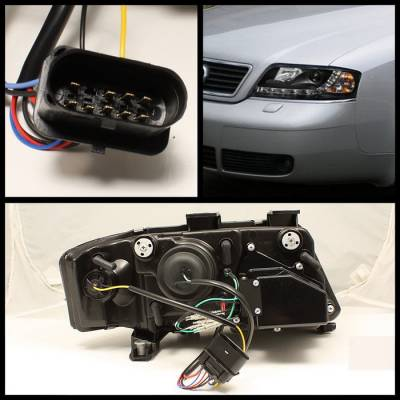 Spyder Auto - Audi A6 Spyder Daytime Running LED Projector Headlights - Black - 444-BMWE3899-HID-HL-C - Image 2