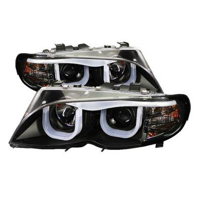 Headlights & Tail Lights - Headlights - Spyder - BMW 3 Series 4DR Spyder Projector Headlights - 3D Halo - Black - 444-BMWE4602-4D-3DDRL-BK