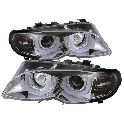 Headlights & Tail Lights - Headlights - Spyder - BMW 3 Series 4DR Spyder Projector Headlights - 3D Halo - Chrome - 444-BMWE4602-4D-3DDRL-C
