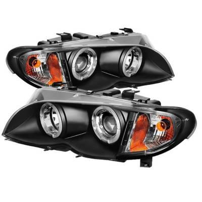 Headlights & Tail Lights - Headlights - Spyder - BMW 3 Series 4DR Spyder Projector Headlights - LED Halo - Black - 444-BMWE4602-4D-AM-BK