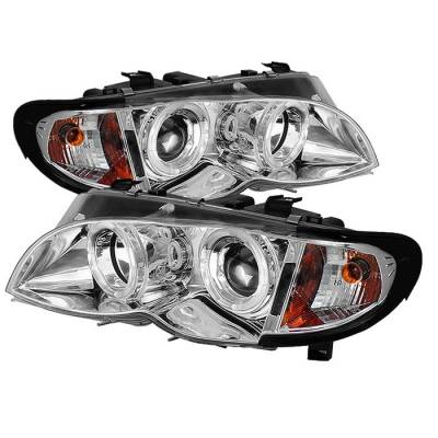 Headlights & Tail Lights - Headlights - Spyder - BMW 3 Series 4DR Spyder Projector Headlights - LED Halo - Chrome - 444-BMWE4602-4D-AM-C
