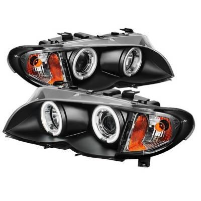Headlights & Tail Lights - Headlights - Spyder - BMW 3 Series 4DR Spyder Projector Headlights - CCFL Halo - Black - 444-BMWE4602-4D-AM-CCFL-BK