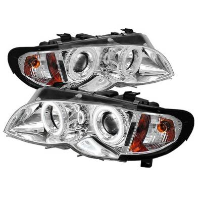 Headlights & Tail Lights - Headlights - Spyder - BMW 3 Series 4DR Spyder Projector Headlights - CCFL Halo - Chrome - 444-BMWE4602-4D-AM-CCFL-C